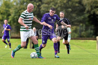 © Press Eye.com 12th August 2017. NIFL Championship 1. Lurgan Celtic v Newry City.. Celtic\'s Warner Mullen. and Newry\'s Chris McMahon. during Saturday\'s match at Knockramer Park. Photo by TONY HENDRON/Presseye.com