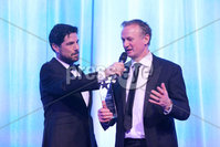Press Eye - Belfast - Northern Ireland - 6th February 2017 -  . Belfast Telegraph Sports Awards 2016.. . Award 7 - Team of the Year Award. The Northern Ireland Football Team won the Team of the Year Award, sponsored by McComb's Coach Travel. It was presented by Caroline McComb, Director of McCombs Coach Travel.. Michael O\'Neill with Craig Doyle.. Photo by Kelvin Boyes / Press Eye..