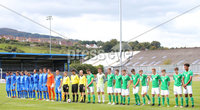Press Eye Belfast - Northern Ireland 7th September 2018. U19 International Challenge Match - Northern Ireland Vs Slovakia at The Showgrounds, Newry.. The teams line out at the start of the match. . Picture by Jonathan Porter/PressEye.com