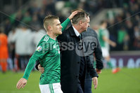 Press Eye - Belfast, Northern Ireland - 16th November 2019 - Photo by William Cherry/Presseye. Northern Ireland manager Micheal O\'Neill at the final whistle which could be the last time as the Manager at the National Stadium puts an arm around his captain Steven Davis after Saturday nights UEFA Euro 2020 Qualifier against Netherlands at the National Stadium, Belfast.     Photo by William Cherry/Presseye