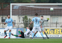 Danske Bank Premiership, Showgrounds, Ballymena  24/8/2019. Ballymena United  vs Glentoran FC . Ballymena United\'s  goal keeper Ross Glendinning  and  Curtis Allen of Glentoran .. Mandatory Credit  INPHO/Brian Little