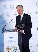 Press Eye - Belfast -  Northern Ireland - 01st November 2018 - Photo by William Cherry/Presseye. IFA AND FAI ANNOUNCE JOINT BID FOR 2023 UEFA UNDER-21 CHAMPIONSHIP. The Irish Football Association and the Football Association of Ireland have today announced their intention to submit a joint bid to host the UEFA Under-21 Championship in 2023.. The UEFA Under-21 Championship is the second biggest football tournament in Europe after the UEFA Euros. The best young talent from across the continent play in the tournament with players such as Luis Figo, Petr Cech, Iker Casillas and Andrea Pirlo all having featured in the competition before becoming senior internationals. Pictured talking at the launch is John Delaney FAI Chief Executive.