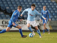 Danske Bank Premiership, Showgrounds, Ballymena.. 16/2/2021. Ballymena United  FC vs Coleraine FC . Ballymena United  Shay McCartan   and Coleraine  Aaron Canning  during Tuesday night\'s Danske Bank Premiership match at Ballymena Showgrounds.. Mandatory Credit  INPHO/Brian Little