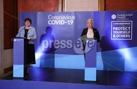 Press Eye - Belfast - Northern Ireland - Monday 23rd March 2020 - . First Minister Arlene Foster and deputy First Minister Michelle O\'Neill, pictured at the Northern Ireland Executives daily press update on the response to the Covid-19 crisis in the Long Gallery, Parliament Buildings, Stormont, Belfast.. . Photo by Kelvin Boyes / Press Eye .
