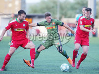 UEFA Europa League First Qualifying Round First Leg, Solitude, Belfast 12/7/2018. Cliftonville vs Nordsjaelland. Cliftonville\'s Jamie Harney(left) and Jamie McGovern with Nordsjaelland\'s Mads Pedersen. Mandatory Credit ©INPHO/Jonathan Porter
