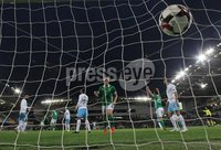 PressEye-Northern Ireland- 11th September  2018-Picture by Brian Little/ PressEye. Northern Ireland Steven Davis  scoring the opening goal against  Israel     during  Tuesday\'s  Friendly International Challenge match at the National Football Stadium at Windsor Park.. Picture by Brian Little/PressEye