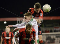 25/01/2020. Danske Bank Premiership, Seaview, Belfast Co. Antrim . Crusaders v Cliftonville . Crusaders  Chris Hegarty in action with Cliftonvilles Ronan Doherty. Mandatory Credit INPHO/Stephen Hamilton.