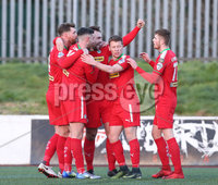 Press Eye - Belfast - 6th January 2018  . Cliftonville v Warrenpiont Town, Tennents Irish Cup 5th round at Solitude, North Belfast.. Cliftonville\'s Jamie Harney celebrates scoring . Picture by Matt Mackey / Inpho.ie