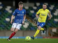 Danske Bank Premiership, Windsor Park, Belfast 2/12/2017. Linfield vs Dungannon Swifts. Linfield\'s Ryan Stain and Terry Fitzpatrick of Dungannon Swifts. Mandatory Credit @INPHO/Brian Little