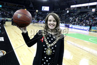 Press Eye - Belfast -  Northern Ireland - 01st December 2017 - Photo by William Cherry/Presseye. Lord Mayor of Belfast Nuala McAllister presents the match ball to referee Mike Pearson before Friday afternoons Basketball Hall of Fame Belfast Classic game at the SSE Arena, Belfast.  Photo by William Cherry/Presseye