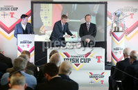 Press Eye Northern Ireland . Thursday 6th December 2018. Picture by Jonathan Porter  / Press Eye . 5th Round Draw of the Tennent\'s Irish Cup that took place today in Pat Jennings Lounge, National Football Stadium at Windsor Park.. Pictured David Martin IFA President and Chairman Challenge Cup Committee and Paul Gaston Coleraine Legend
