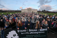 Press Eye - Belfast - Northern Ireland - 30th November 2019. A silent protest against liberalisation of abortion laws was held as significant numbers walked a mile up the hill to the seat of Northern Irelands suspended devolved government in support of the NI Voiceless pressure group.. . Picture Matt Mackey / Press Eye.
