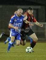 q. Danske Bank Premiership, The Showgrounds, Co. Armagh 2/11/2018. Newry City vs Crusaders. Newry\'s Stephen Hughes in action with Crusaders Howard Beverland. Mandatory Credit INPHO/Stephen Hamilton.