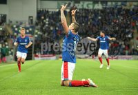 UEFA Europa League- Qualifying Third Round-2nd Leg, Windsor Park, Belfast  12/8/2019. Linfield FC vs FK FK Sutjeska. Linfield\'s  Matthew Clarke celebrates scoring a goal against  FK Sutjeska.. Mandatory Credit  INPHO/Brian Little
