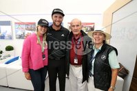 Press Eye - Belfast - Northern Ireland - 5th July  2018 . Dubai Duty Free Irish Open hosted by the Rory Foundation at Ballyliffin Golf Club, Co Donegal, Ireland.. John Ralm with Colm McLoughlin, Kelley Cahill and Breda McLoughlin in the private, Dubai Duty Free Irish Open Chalet on the 18th Green at the Dubai Duty Free Irish Open at Ballyliffin Golf Club which was held from Wednesday 5th to Sunday 8th July.. Photo by Kelvin Boyes / Press Eye..