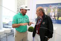 Press Eye - Belfast - Northern Ireland - 5th July  2018 . Dubai Duty Free Irish Open hosted by the Rory Foundation at Ballyliffin Golf Club, Co Donegal, Ireland.. Graeme McDowell with Colm McLoughlin in the private, Dubai Duty Free Irish Open Chalet on the 18th Green at the Dubai Duty Free Irish Open at Ballyliffin Golf Club which was held from Wednesday 5th to Sunday 8th July.. Photo by Kelvin Boyes / Press Eye..