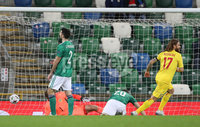 Press Eye-Belfast-Northern Ireland -18th November 2020. National Football Stadium at Windsor Park, Belfast. . 18/11/2020. Romania Eric Bicfalvi scores against Northern Ireland   during Wednesday   night\'s UEFA Nations League match at the National Football Stadium at Windsor Park,Belfast.. Mandatory Credit PressEye