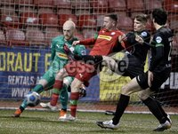 9thFebruary 2021. Danske Bank Irish league,Solitude,Belfast. Cliftonville v Warrenpoint Town .. Cliftonvilles Ronan Doherty  in action with Warrenpoints Kealan Dillon. Mandatory Credit   Inpho/Stephen Hamilton
