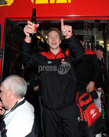 ©Press Eye Ltd Northern Ireland - 12th May 2012. Crusaders Timmy Adamson  is given a heros welcome at Seaview after the team won the Setanta cup . Mandatory Credit - Picture by Stephen Hamilton /Presseye.com. .