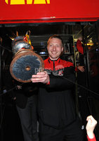 ©Press Eye Ltd Northern Ireland - 12th May 2012. Crusaders Chris Morrow   is given a heros welcome at Seaview after the team won the Setanta cup . Mandatory Credit - Picture by Stephen Hamilton /Presseye.com. .