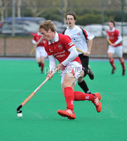 Mandatory Credit: Rowland White/Presseye. Hockey: Super 9\'s Finals. Teams: Dale Dragons (white) v Cookstown Maverics (red). Venue: Banbridge. Date: 25th April 2012. Caption: Ian Sloan, Maverics