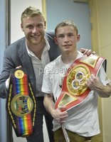 ©Russell Pritchard / Presseye - 26th May 2012. Matchroom Sports : Super Bantamweight fight for the Vacant IBF Inter-Continental Belt between Carl Frampton (Belfast) and Raul Hirales, (Mexico) at The Capital FM Arena, Nottingham. Carl with Freddie Flintoff, his IBF belt and Commonwealth belt. ©Russell Pritchard / Presseye