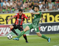 Wednesday 11th July 2018. UEFA Champions League First Qualifying Round First Leg between PFC Ludogorets Razgrad and Crusaders FC .. Ludogorets Svetoslav Atanasov Dyakov  in action with Crusaders Paul Heatley. Mandatory Credit: Inpho/Stephen Hamilton