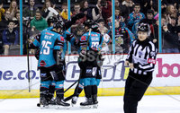 Press Eye - Belfast -  Northern Ireland - 03rd February 2019 - Photo by William Cherry/Presseye. Belfast Giants\' Colin Shields celebrates scoring against the Guildford Flames during Friday nights Elite Ice Hockey League game at the SSE Arena, Belfast.   Photo by William Cherry/Presseye