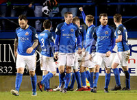 Danske Bank Premiership, Mourneview Park, Lurgan, Co. Armagh 13/1/2018. Glenavon vs Cliftonville. Glenavon\'s Sammy Clingan celebrates his goal with teammates. Mandatory Credit ©INPHO/Declan Roughan