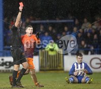 Danske Bank Premiership, The Showgrounds, Co. Derry 10/2/2018. Coleraine vs Glenavon. Glenavon\'s Bobby Burns appeals as referee Ian McNabb sends off Mark Sykes. Mandatory Credit ©INPHO/Lorcan Doherty