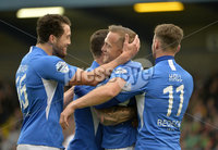9th August 2019. Danske Bank Premiership. Mourneview Park, Lurgan. . Glenavon FC Vs Glentoran FC. Glenavon Sammy Clinghan celebrates after scoring . Mandatory Credit : Stephen Hamilton/Inpho
