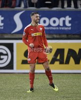 . Danske Bank Premiership, Solitude, Belfast 3/11/2018. Cliftonville vs Glentoran. Cliftonville\'s Joe Gormley celebrates after he  fires home the winning goal. Mandatory Credit INPHO/Stephen Hamilton