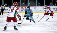 Press Eye - Belfast, Northern Ireland - 01st February 2020 - Photo by William Cherry/Presseye. Belfast Giants\' Ben Lake with Cardiff Devils\' Gleason Fournier during Sunday afternoons Elite Ice Hockey League game at the SSE Arena, Belfast.   Photo by William Cherry/Presseye
