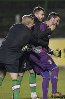 . Bet McLean League Cup Round 3, The Oval, Belfast 30/10/2018. Glentoran vs Coleraine. Glentorans players celebrate with Elliott Morris after a late penalty shoot out puts them through to the next round. Mandatory Credit INPHO/Stephen Hamilton.