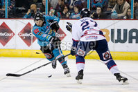 Press Eye - Belfast -  Northern Ireland -16th November 2019 - Photo by Darren Kidd/Presseye . Belfast Giants\' Patryk Wronka with Dundee Stars\' Shawn Boutin during Saturday nights Elite Ice Hockey League game at the SSE Arena, Belfast.    Photo by Darren Kidd/Presseye