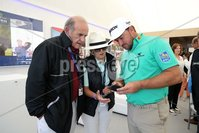 Press Eye - Belfast - Northern Ireland - 5th July  2018 . Dubai Duty Free Irish Open hosted by the Rory Foundation at Ballyliffin Golf Club, Co Donegal, Ireland.. Graeme McDowell with Colm and Breda McLoughlin in the private, Dubai Duty Free Irish Open Chalet on the 18th Green at the Dubai Duty Free Irish Open at Ballyliffin Golf Club which was held from Wednesday 5th to Sunday 8th July.. Photo by Kelvin Boyes / Press Eye..
