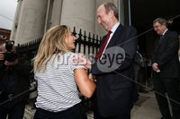Irish Hockey Team Homecoming, Dublin 6/8/2018. Ireland\'s Chloe Watkins with Minister for Transport, Tourism and Sport Shane Ross T.D. Mandatory Credit  ©INPHO/Tommy Dickson