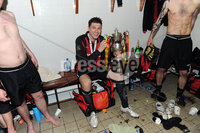 ©Press Eye Ltd Northern Ireland - 12th May 2012. Crusaders Paul Leeman  celebrates after they won the Setanta cup.. Mandatory Credit - Picture by Stephen Hamilton /Presseye.com. .
