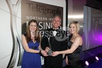 Press Eye - Belfast - Northern Ireland - Tuesday 24th April 2012 -  Picture by Kelvin Boyes / Press Eye.. 2012 Belfast Telegraph Northern Ireland Business Awards in association with bmi at the Ramada Hotel. MUST USE. AllState NI won the award for Excellence in Corporate Social Responsibility. Sonya Kerr and Sarah Montgomery from AllState were presented with the trophy by Daniel McLarnon, Group Corporate Development Director, Moy Park.
