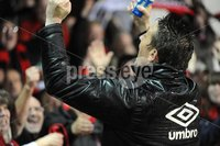 ©Press Eye Ltd Northern Ireland - 23rd April 2012. Setanta cup semi final second leg match between Sligo Rovers and Crusaders at Sligo show grounds..  Crusaders Stephen Baxter celebrates at the final whistle.  Mandatory Credit - Picture by Stephen Hamilton /Presseye.com. .