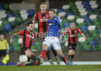 21/02/2020. Danske Bank Irish Premiership match between Linfield and Crusaders at The National Stadium.. Linfields  Kirk Millar in action with Crusaders Declan Caddell. Mandatory Credit  Inpho/Stephen Hamilton