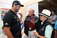 Press Eye - Belfast - Northern Ireland - 5th July  2018 . Dubai Duty Free Irish Open hosted by the Rory Foundation at Ballyliffin Golf Club, Co Donegal, Ireland.. John Ralm with Colm McLoughlin and Breda McLoughlin in the private, Dubai Duty Free Irish Open Chalet on the 18th Green at the Dubai Duty Free Irish Open at Ballyliffin Golf Club which was held from Wednesday 5th to Sunday 8th July.. Photo by Kelvin Boyes / Press Eye..