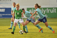 Press Eye - Belfast - Northern Ireland - 8th June. World Cup qualifier - Northern Ireland  v Netherlands at Shamrock Park Portadown.. Northern Irelands Rachel Furness  in action with Netherlands Jill Roord. Mandatory Credit: Presseye/Stephen Hamilton