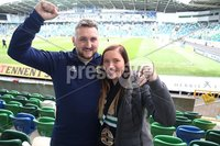 PressEye-Northern Ireland- 8th September  2018-Picture by Brian Little/ PressEye. Fans Emma and Bradley Hughes from Banbridge supporting Northern Ireland against  Bosnia and Herzegovina      during  Saturday\'s  UEFA Nations League match at the National Football Stadium at Windsor Park.. Picture by Brian Little/PressEye .