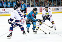 Press Eye - Belfast -  Northern Ireland -16th November 2019 - Photo by Darren Kidd/Presseye . Belfast Giants\' Patryk Wronka  with Dundee Stars\' Drydn Dow during Saturday nights Elite Ice Hockey League game at the SSE Arena, Belfast.    Photo by Darren Kid/Presseye