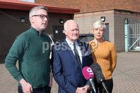 Mandatory Credit - Picture by Freddie Parkinson/Press Eye ©. Wednesday 12 September 2018. Liam Shannon (Centre) one of 'The Hooded Men' speaking to the media alongside Sinn Féin Senator Niall Ó Donnghaile (Left) this morning in the aftermath of yesterday's court ruling along with Councillor Mairéad O\'Donnell (Right).