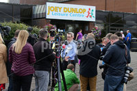 Press Eye - Belfast - Northern Ireland - 8th August 2018. Three petition signing centre open in north Antrim regarding The Recall of MPs Act 2015 and DUP MP for the area Ian Paisley Jnr\'s recent suspension from the House of Commons over expenses and holidays to Sir Lanka. . Sinn Fein MLA for the area Philip McGuigan(centre) leads a party delegation at the Joey Dunlop leisure centre in Ballymoney where he speaks to the press after signing the petition. .  . Picture by Jonathan Porter/PressEye