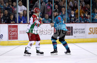 Press Eye - Belfast, Northern Ireland - 01st February 2020 - Photo by William Cherry/Presseye. Belfast Giants\' Liam Morgan and Cardiff Devils\' Blair Riley drop the gloves during Sunday afternoons Elite Ice Hockey League game at the SSE Arena, Belfast.   Photo by William Cherry/Presseye