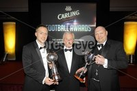 Press Eye - Belfast - Northern Ireland - 7th May 2012 . The Carling 2012 Northern Ireland Football Writers Association Football Awards at the Europa Hotel Belfast. Carling footballer of the Year  Chris Morrow (Crusaders) and Carling Manager of the Year David Jeffrey (Linfield) pictured with Jimmy McIlroy.. Picture by Kelvin Boyes / Press Eye