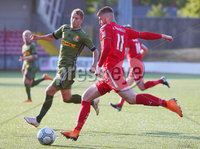 UEFA Europa League First Qualifying Round First Leg, Solitude, Belfast 12/7/2018. Cliftonville vs Nordsjaelland. Cliftonville\'s Rory Donnellywith Nordsjaelland Andreas Skovgaard. Mandatory Credit ©INPHO/Jonathan Porter